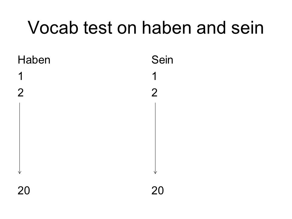 Vocab test on haben and sein