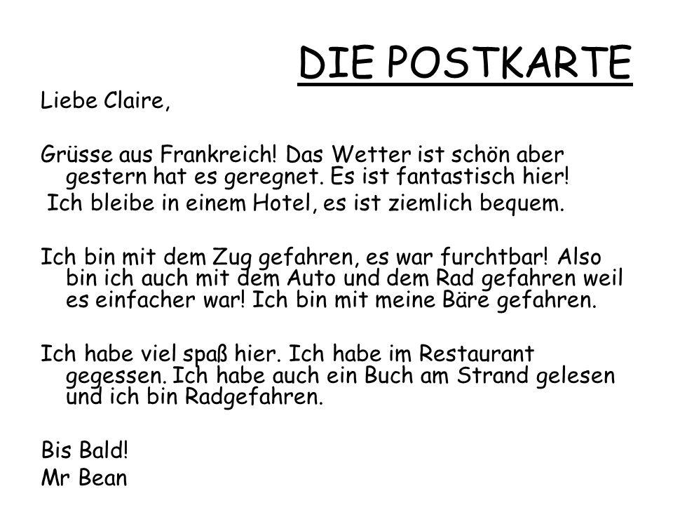 DIE POSTKARTE Liebe Claire,