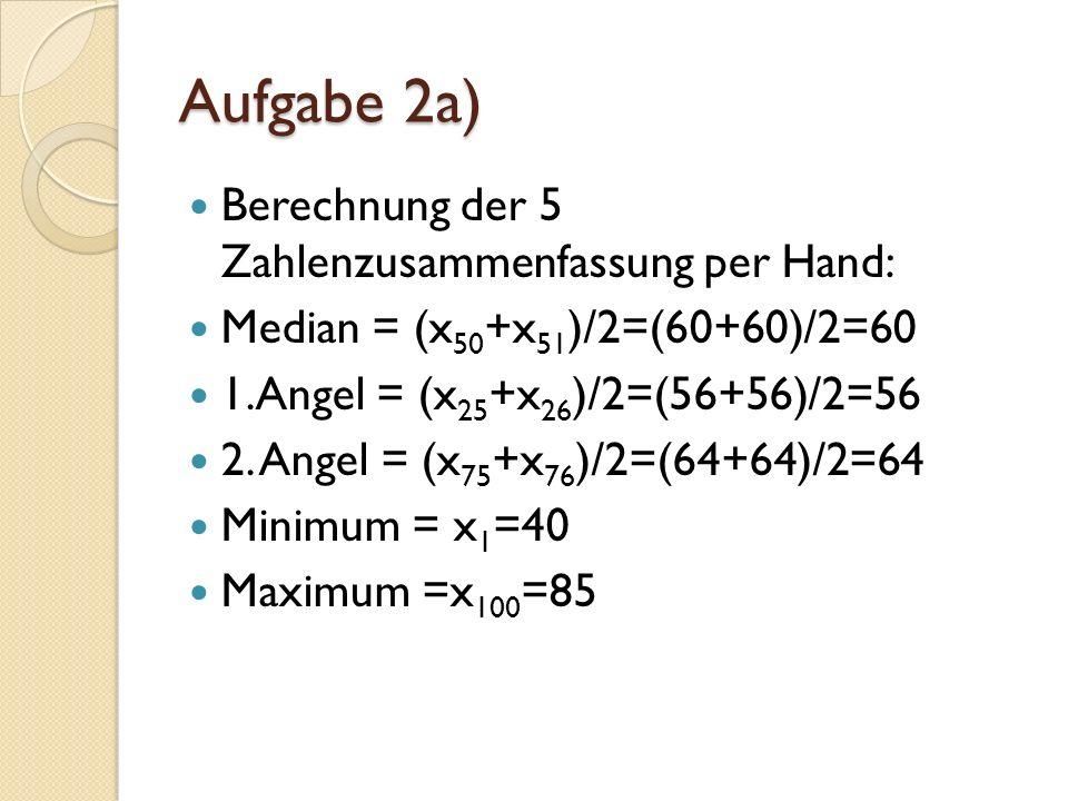 Aufgabe 2a) Berechnung der 5 Zahlenzusammenfassung per Hand: