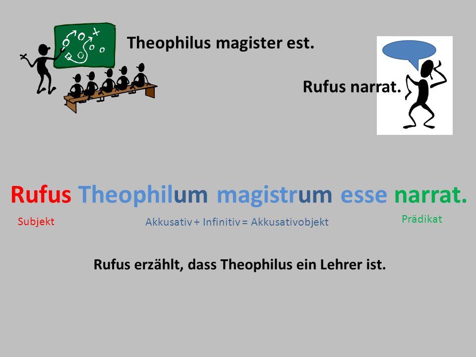 Rufus Theophilum magistrum esse narrat.