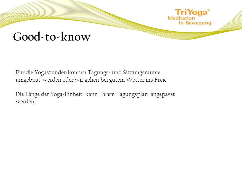 Good-to-know Für die Yogastunden können Tagungs- und Sitzungsräume