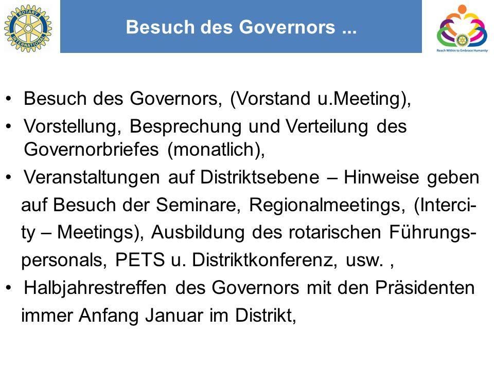 Besuch des Governors ... Besuch des Governors, (Vorstand u.Meeting), Vorstellung, Besprechung und Verteilung des Governorbriefes (monatlich),