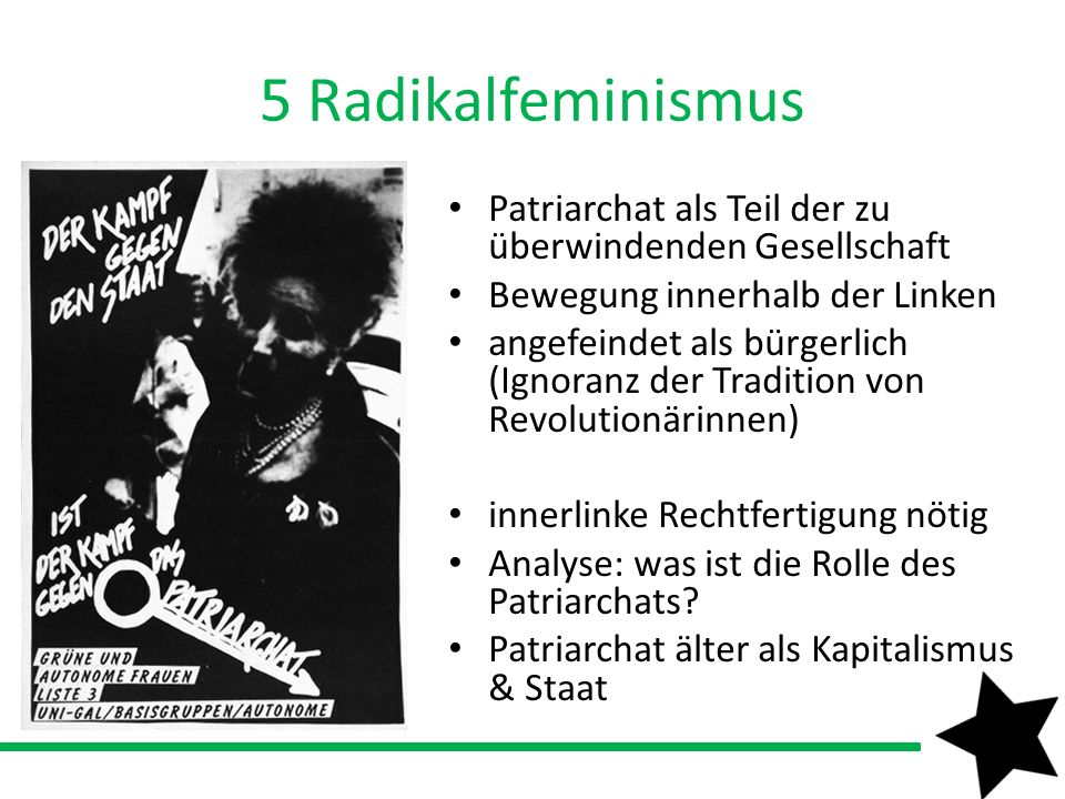 5 Radikalfeminismus Patriarchat als Teil der zu überwindenden Gesellschaft. Bewegung innerhalb der Linken.