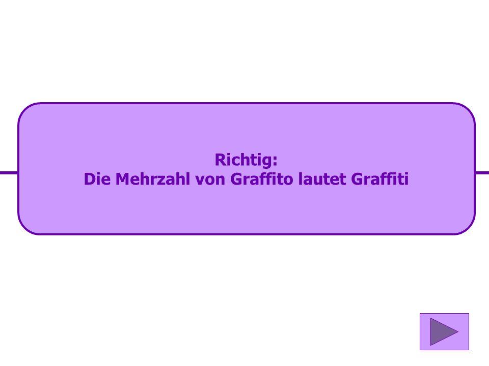 Die Mehrzahl von Graffito lautet Graffiti