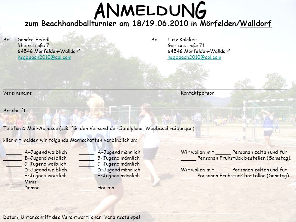 zum Beachhandballturnier am 18/19.06.2010 in Mörfelden/Walldorf