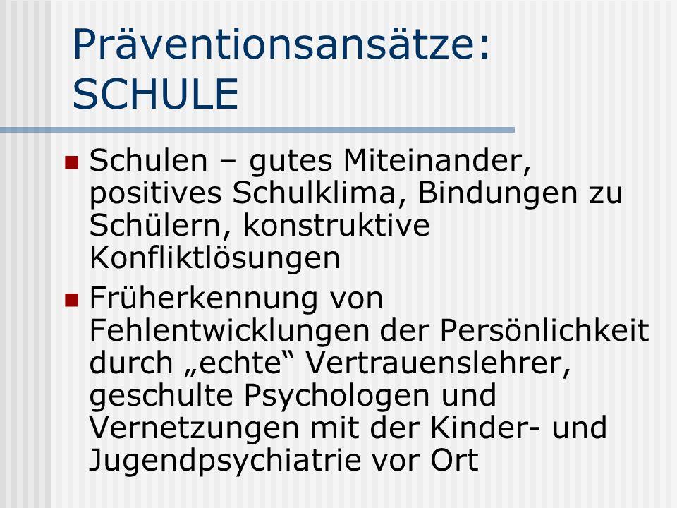 Präventionsansätze: SCHULE