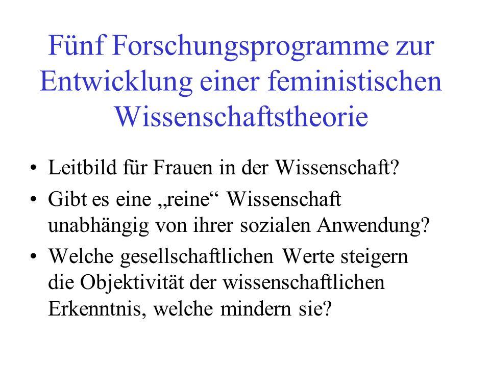 Fünf Forschungsprogramme zur Entwicklung einer feministischen Wissenschaftstheorie
