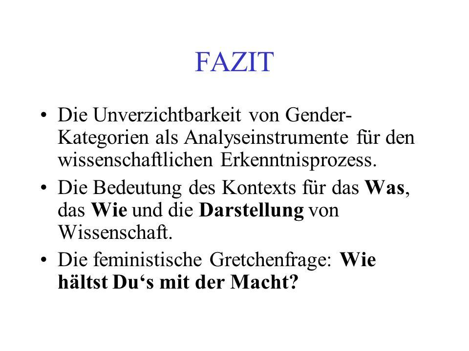 FAZIT Die Unverzichtbarkeit von Gender-Kategorien als Analyseinstrumente für den wissenschaftlichen Erkenntnisprozess.