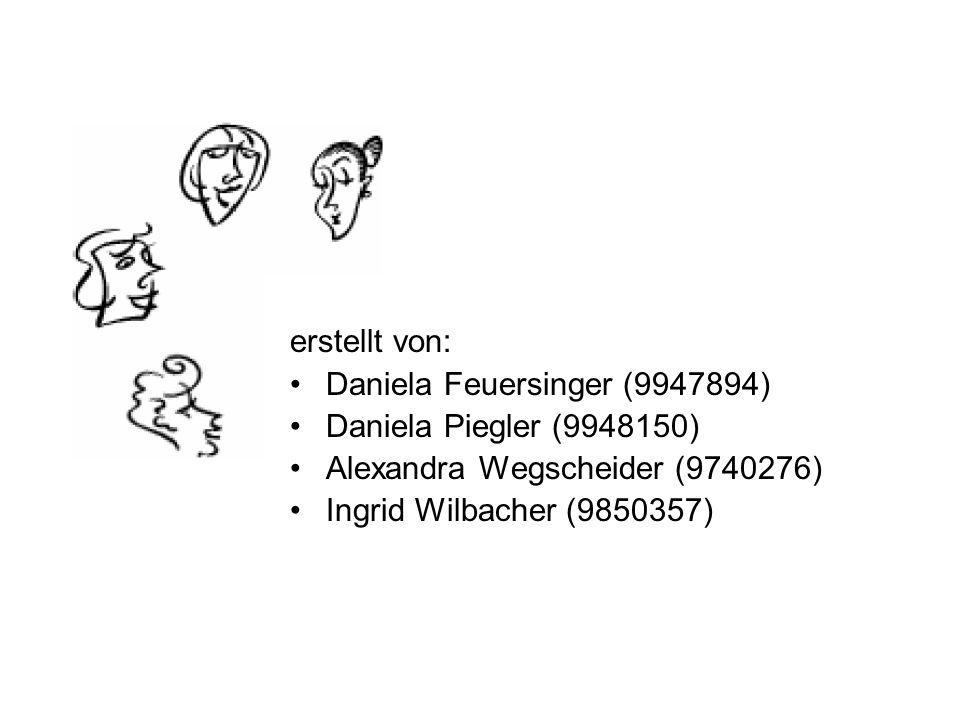 erstellt von: Daniela Feuersinger (9947894) Daniela Piegler (9948150) Alexandra Wegscheider (9740276)