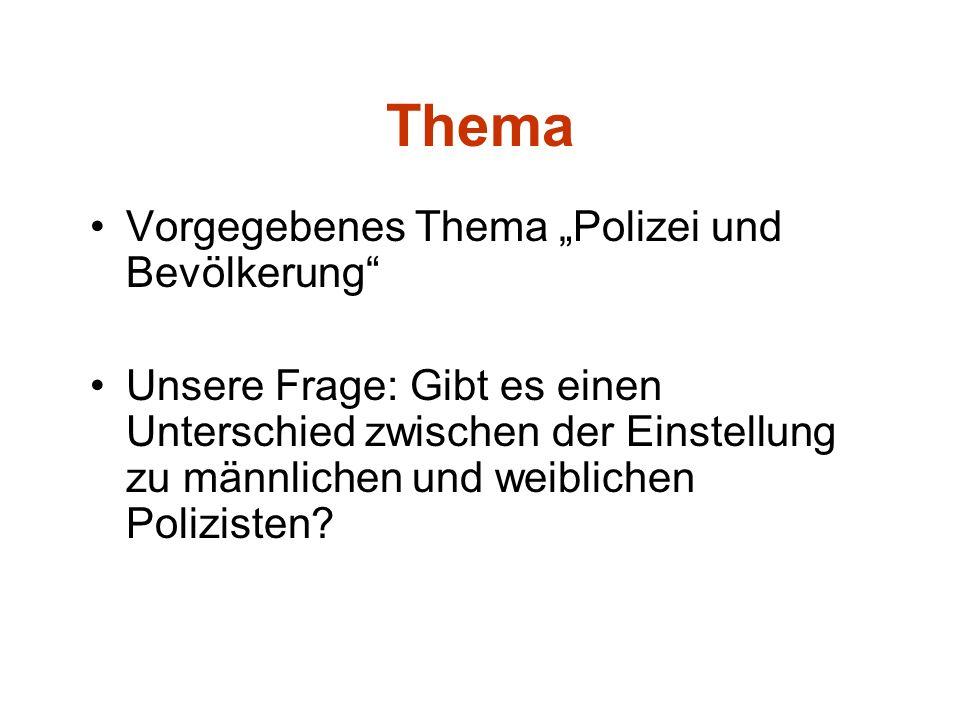 """Thema Vorgegebenes Thema """"Polizei und Bevölkerung"""