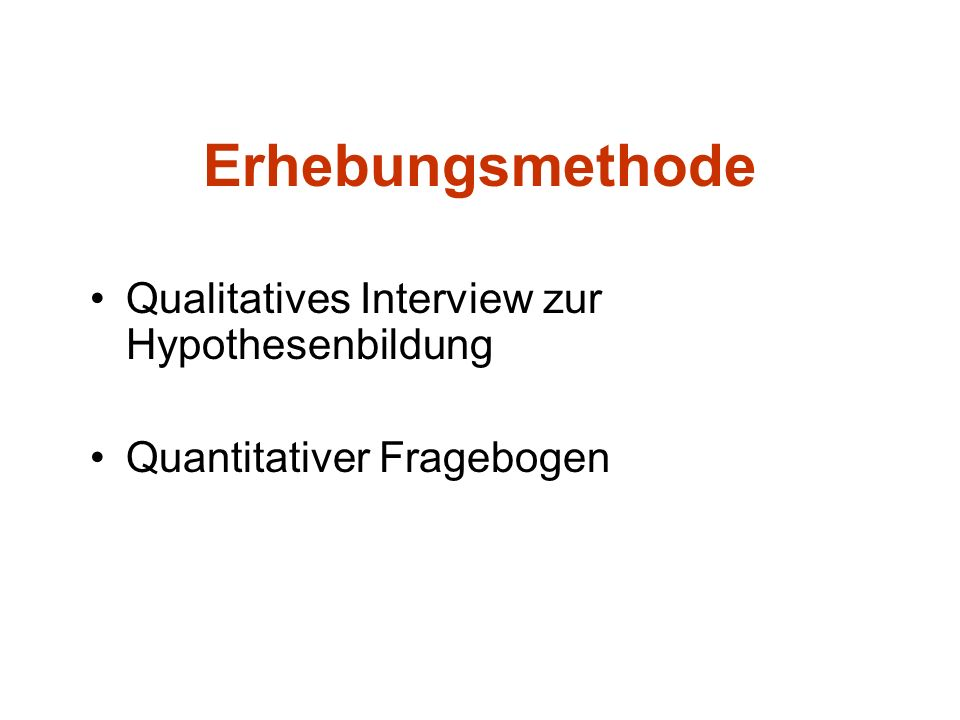 Erhebungsmethode Qualitatives Interview zur Hypothesenbildung