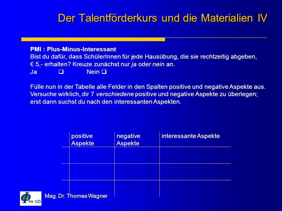 Der Talentförderkurs und die Materialien IV