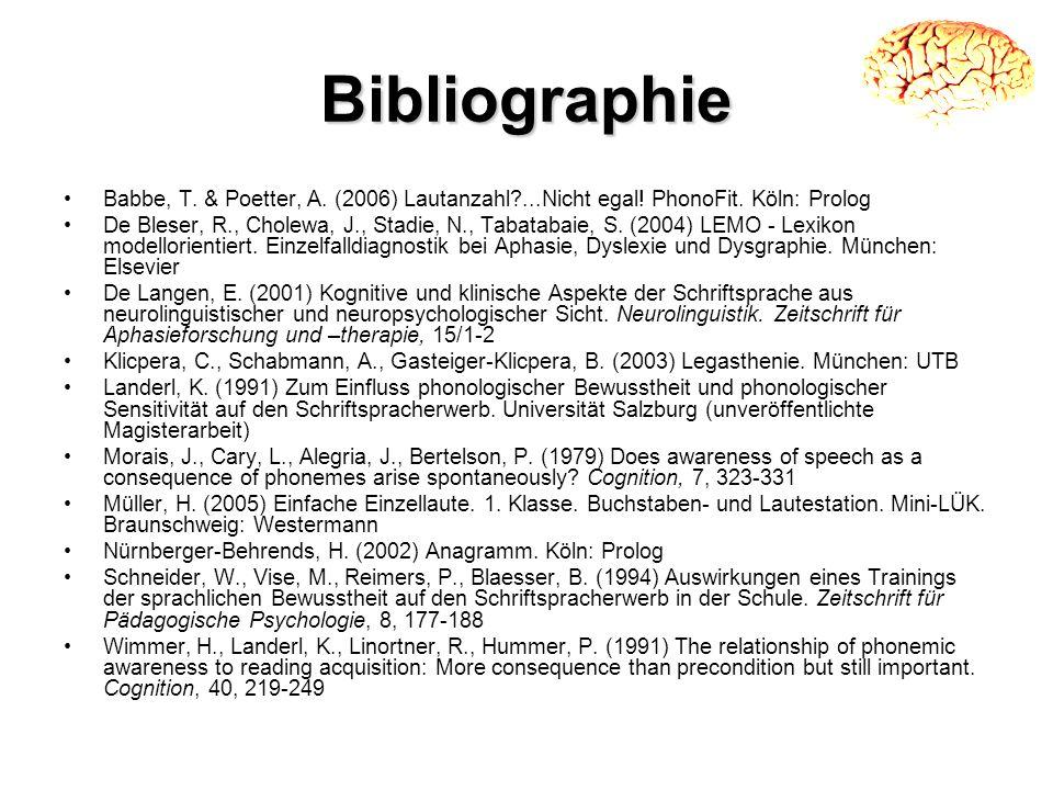 Bibliographie Babbe, T. & Poetter, A. (2006) Lautanzahl ...Nicht egal! PhonoFit. Köln: Prolog.