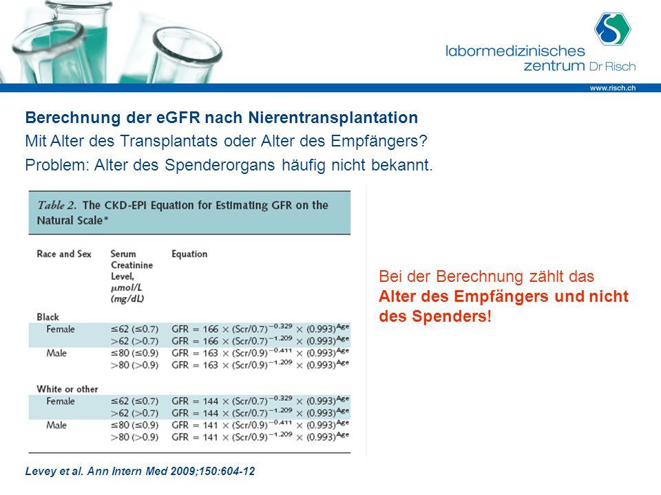 Berechnung der eGFR nach Nierentransplantation
