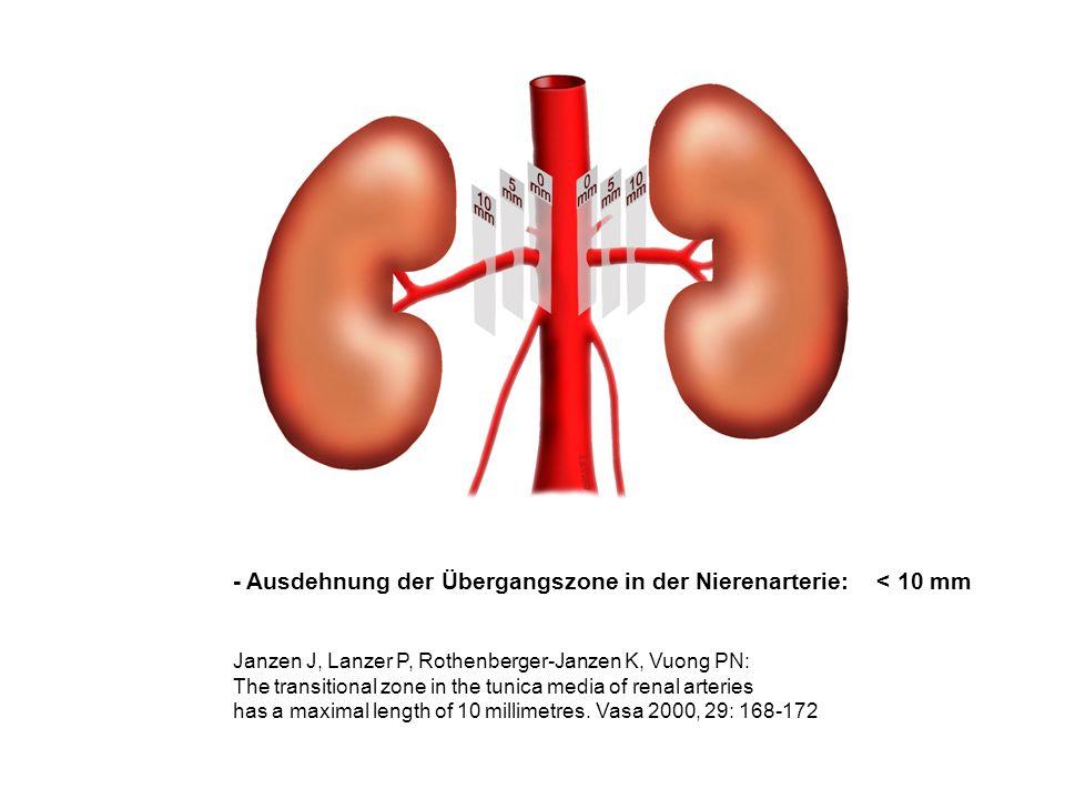 - Ausdehnung der Übergangszone in der Nierenarterie: < 10 mm