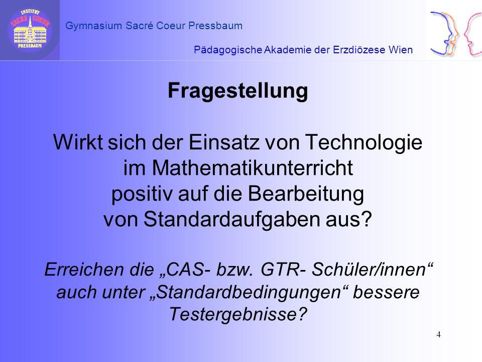 Fragestellung Wirkt sich der Einsatz von Technologie im Mathematikunterricht positiv auf die Bearbeitung von Standardaufgaben aus.