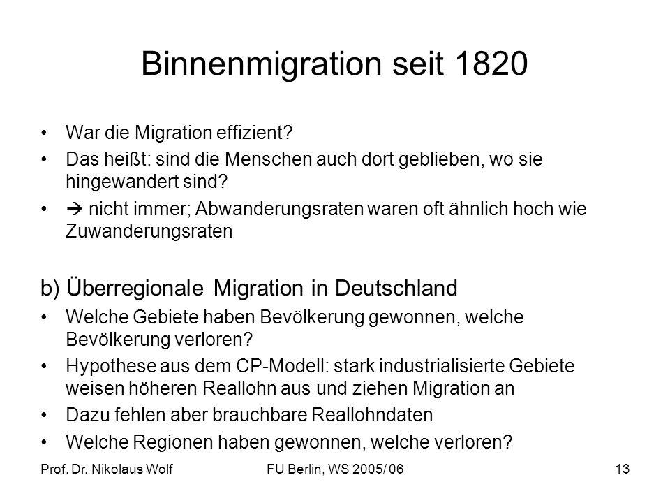 Binnenmigration seit 1820 b) Überregionale Migration in Deutschland