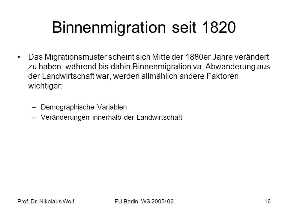 Binnenmigration seit 1820