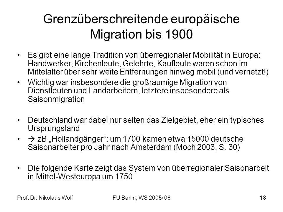 Grenzüberschreitende europäische Migration bis 1900
