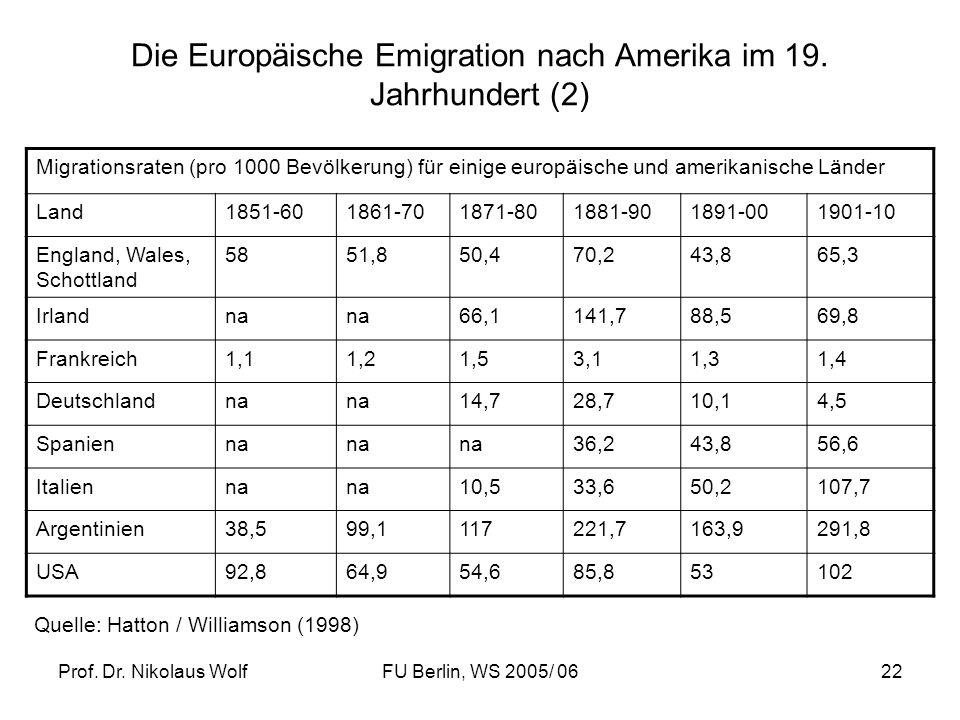 Die Europäische Emigration nach Amerika im 19. Jahrhundert (2)