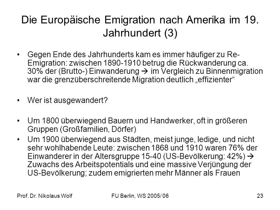 Die Europäische Emigration nach Amerika im 19. Jahrhundert (3)