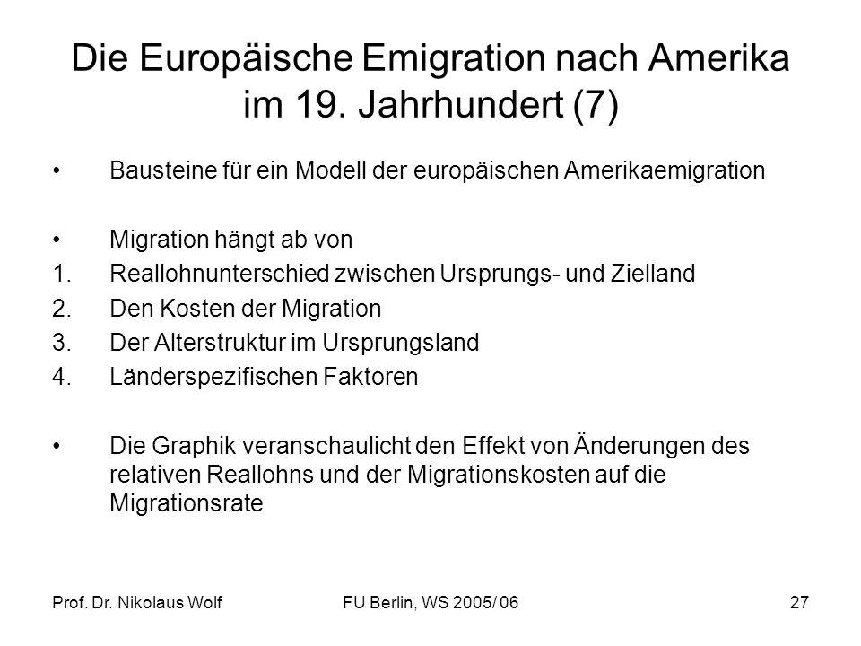 Die Europäische Emigration nach Amerika im 19. Jahrhundert (7)
