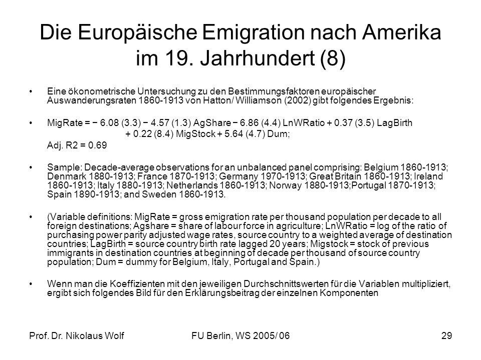 Die Europäische Emigration nach Amerika im 19. Jahrhundert (8)
