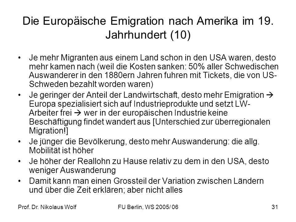 Die Europäische Emigration nach Amerika im 19. Jahrhundert (10)