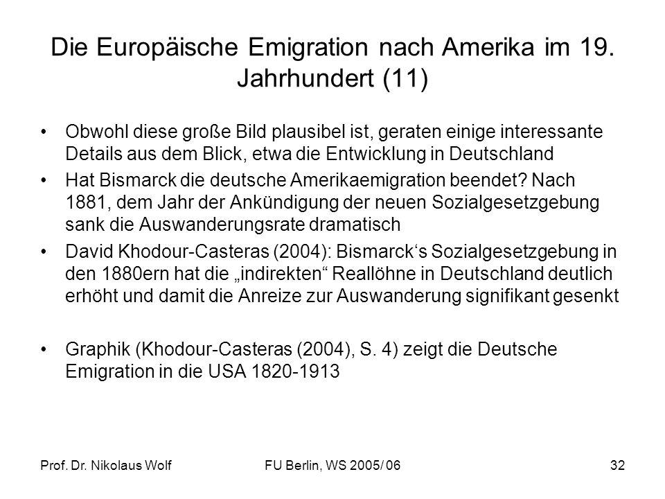 Die Europäische Emigration nach Amerika im 19. Jahrhundert (11)