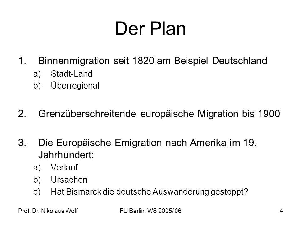 Der Plan Binnenmigration seit 1820 am Beispiel Deutschland