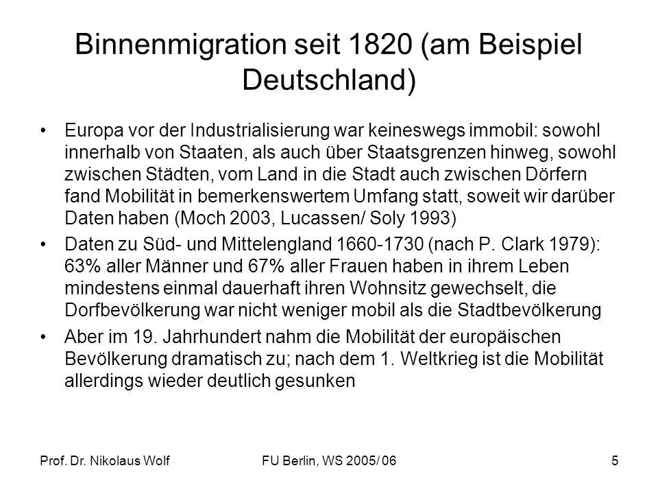 Binnenmigration seit 1820 (am Beispiel Deutschland)