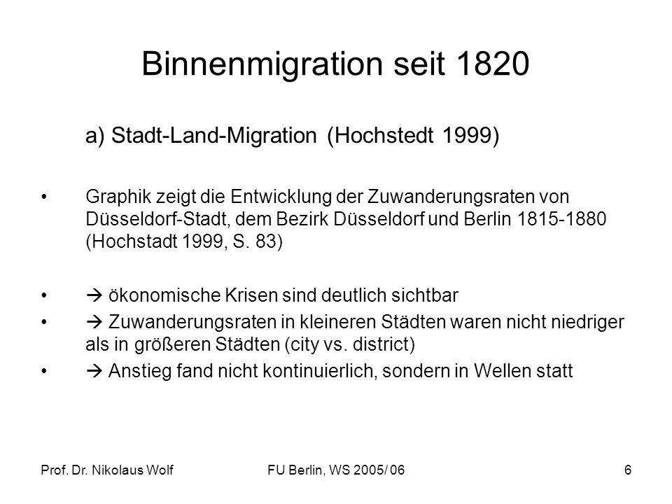 Binnenmigration seit 1820 a) Stadt-Land-Migration (Hochstedt 1999)