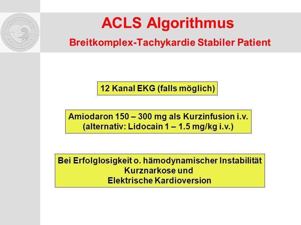 ACLS Algorithmus Breitkomplex-Tachykardie Stabiler Patient