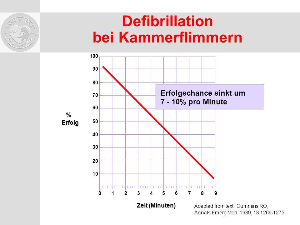 Defibrillation bei Kammerflimmern