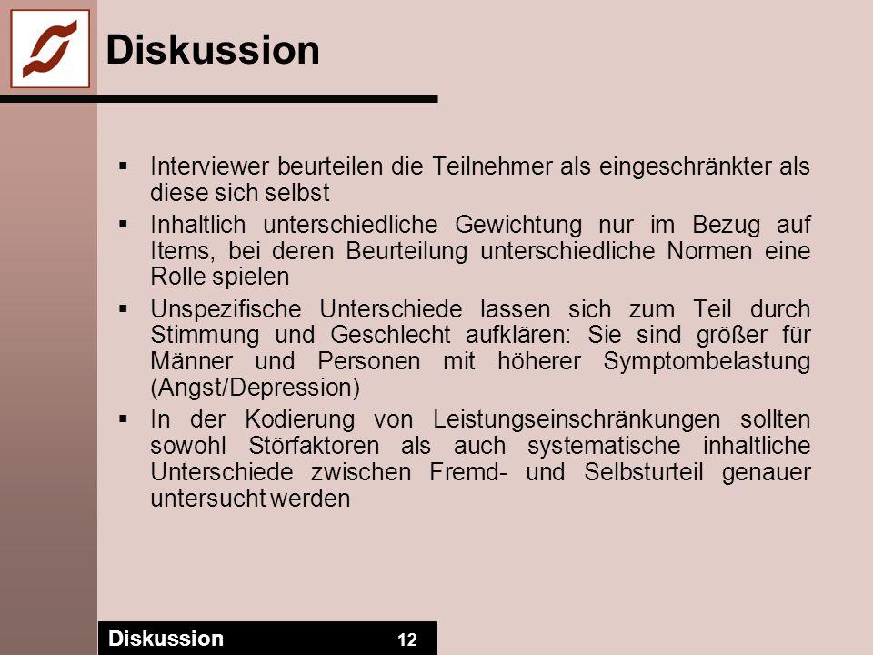 Diskussion Interviewer beurteilen die Teilnehmer als eingeschränkter als diese sich selbst.