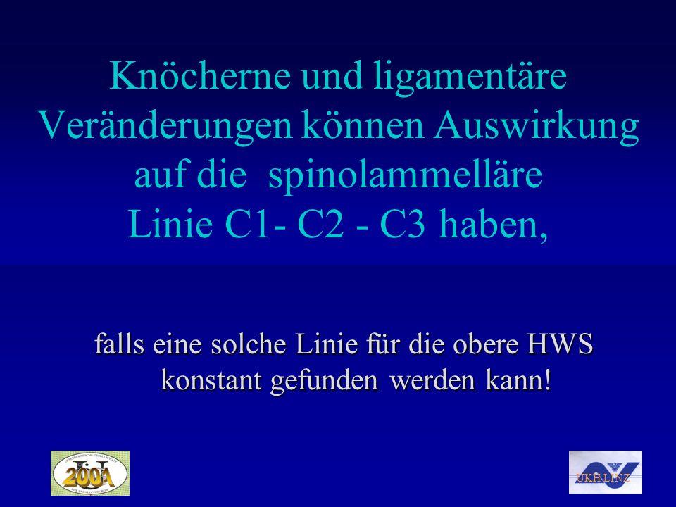 Knöcherne und ligamentäre Veränderungen können Auswirkung auf die spinolammelläre Linie C1- C2 - C3 haben,