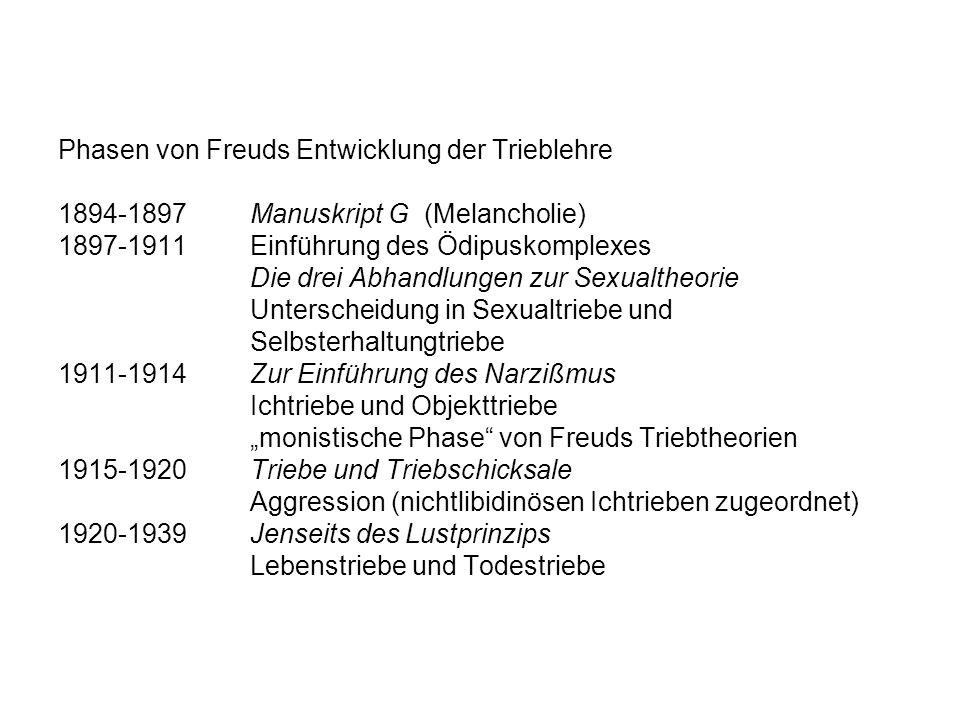 Phasen von Freuds Entwicklung der Trieblehre 1894-1897