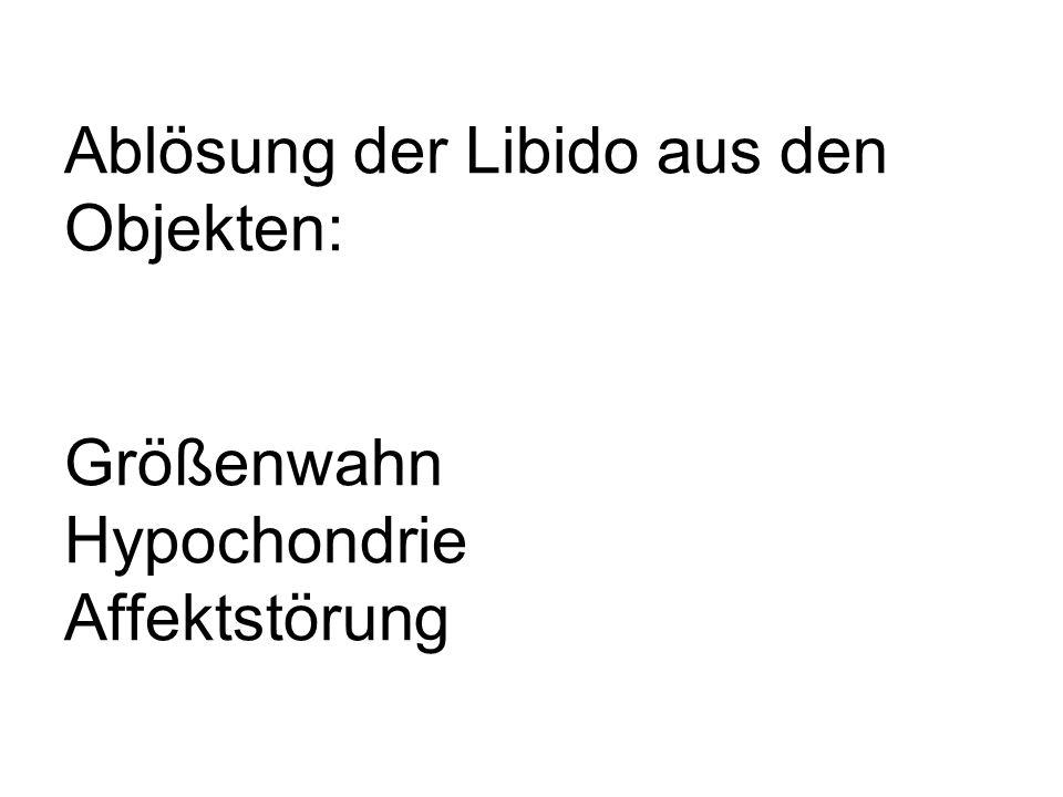 Ablösung der Libido aus den Objekten: Größenwahn Hypochondrie Affektstörung