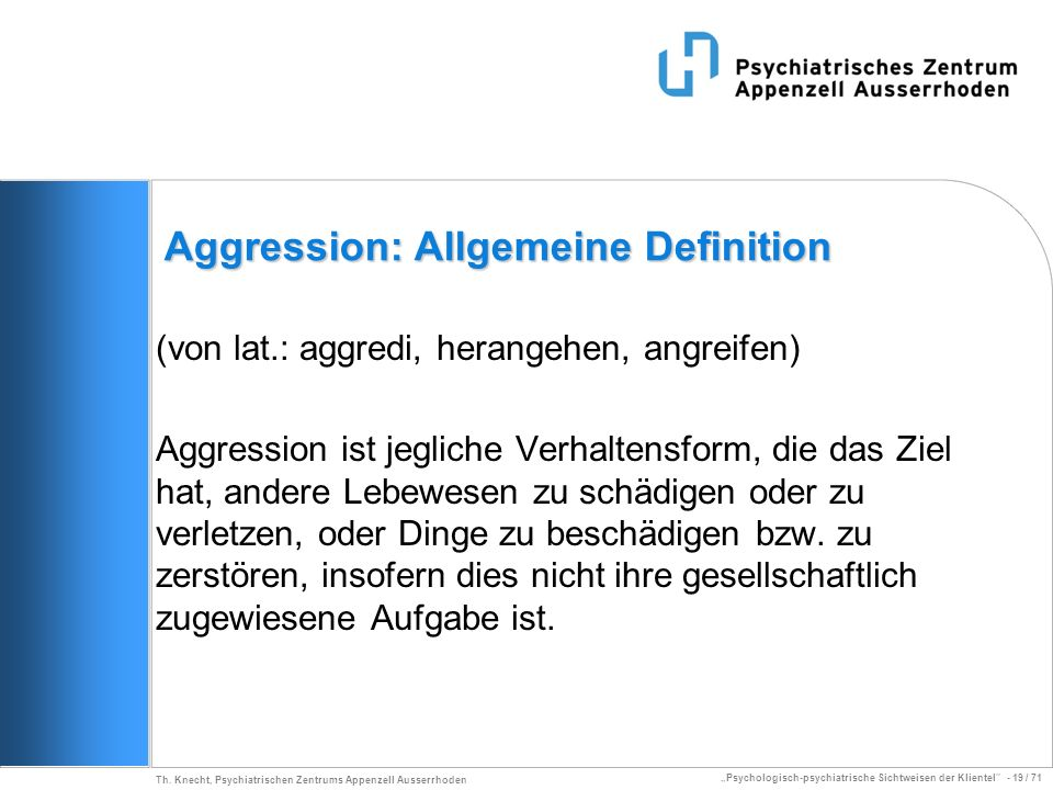 Aggression: Allgemeine Definition