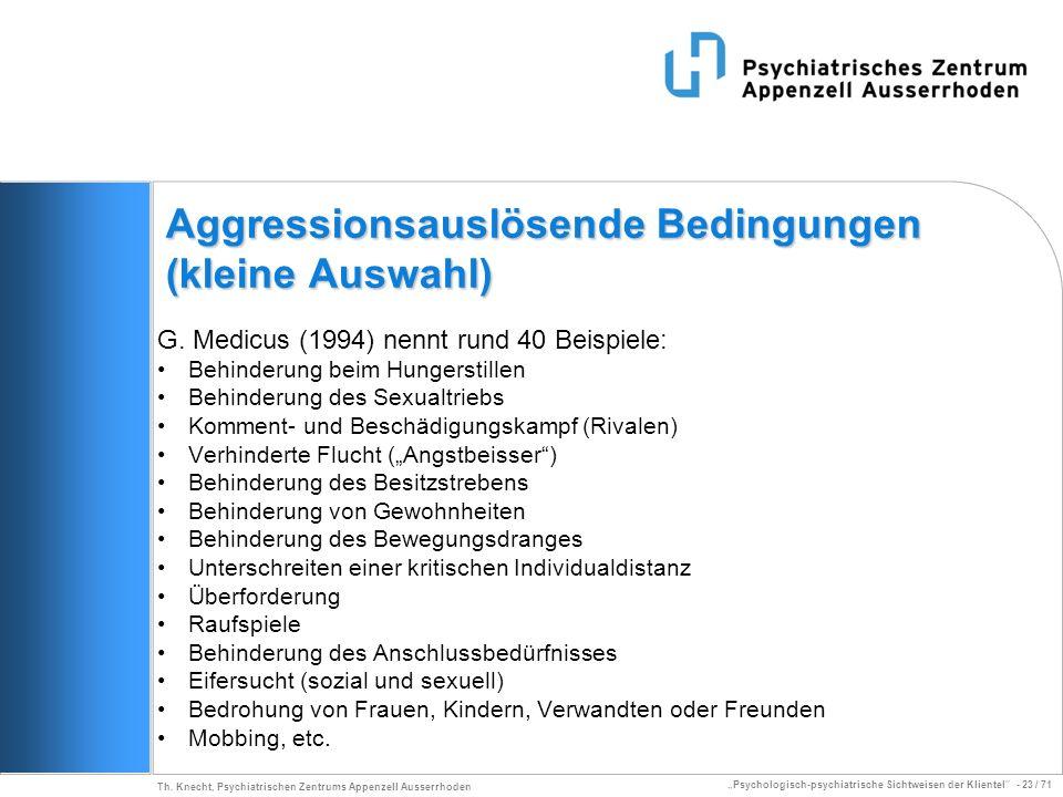 Aggressionsauslösende Bedingungen (kleine Auswahl)