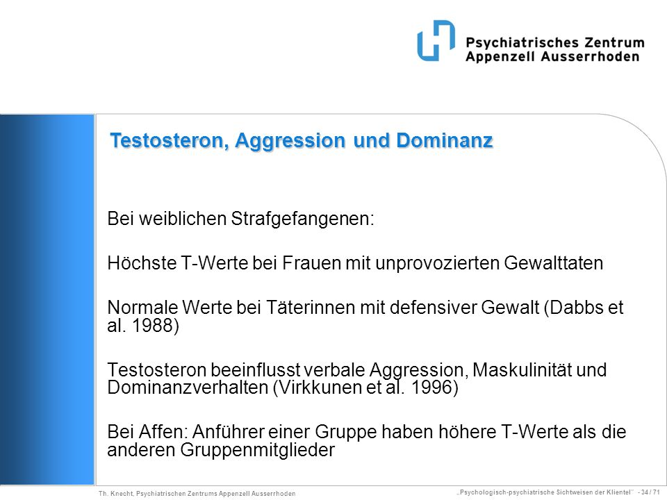 Testosteron, Aggression und Dominanz
