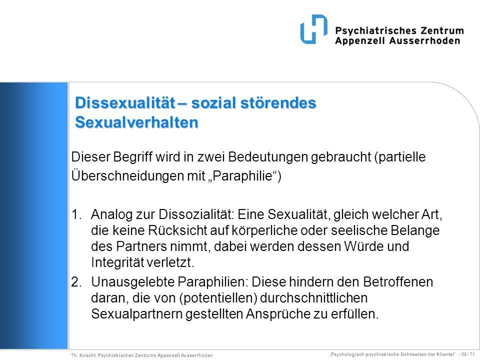 Dissexualität – sozial störendes Sexualverhalten