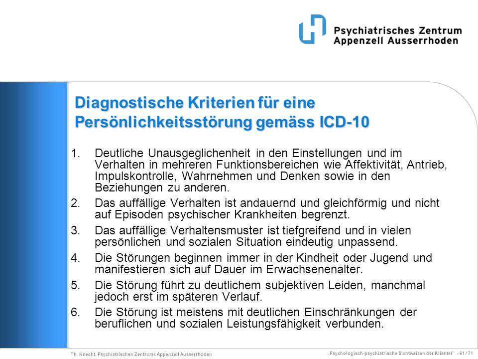 Diagnostische Kriterien für eine Persönlichkeitsstörung gemäss ICD-10