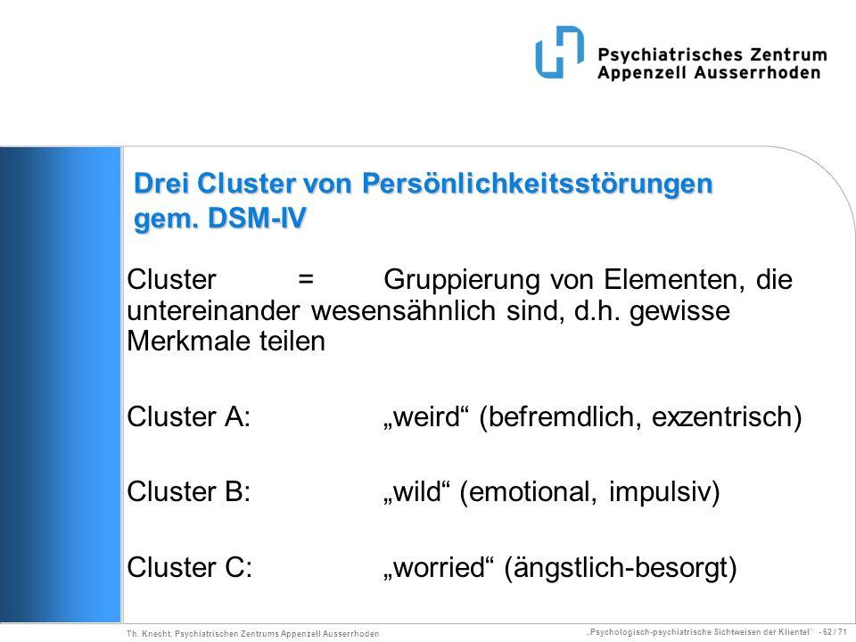 Drei Cluster von Persönlichkeitsstörungen gem. DSM-IV