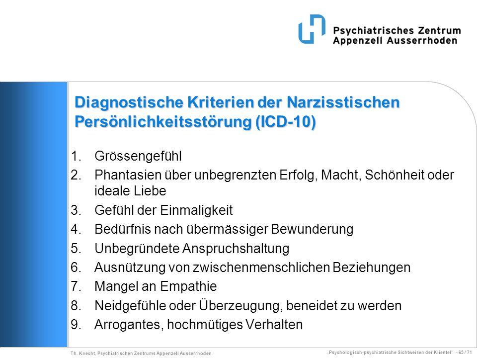 Diagnostische Kriterien der Narzisstischen Persönlichkeitsstörung (ICD-10)