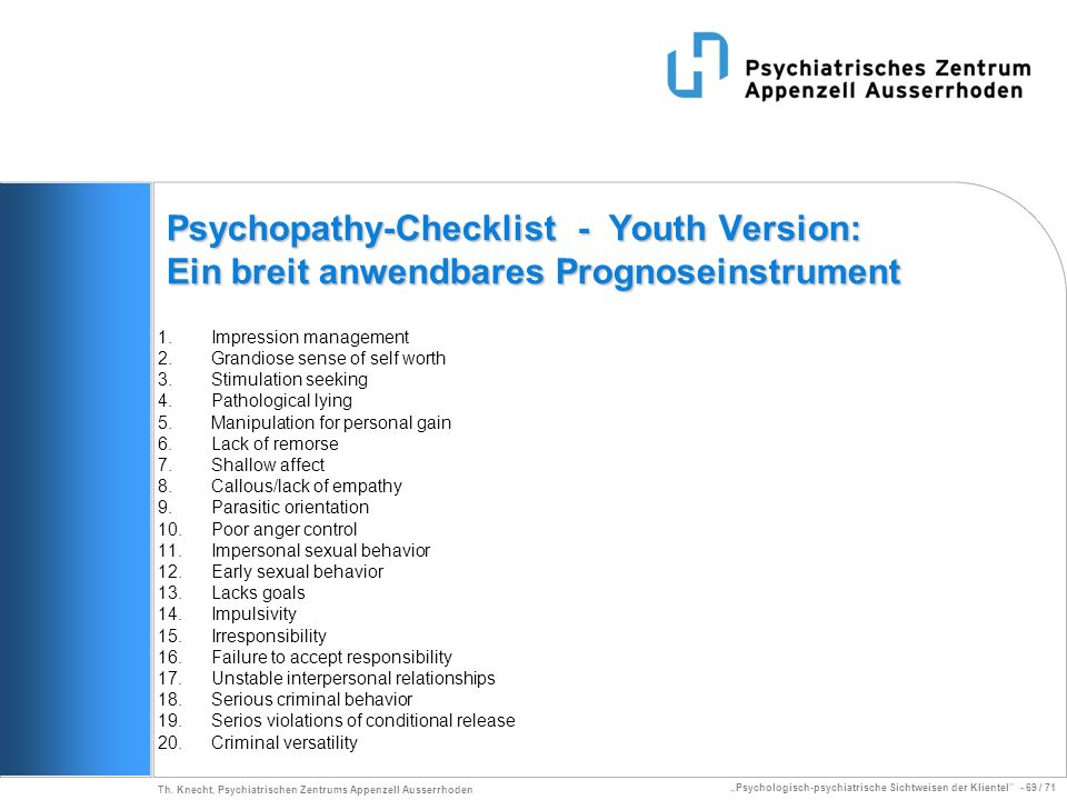 Psychopathy-Checklist - Youth Version: Ein breit anwendbares Prognoseinstrument