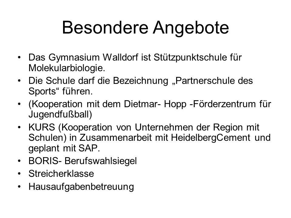 Besondere Angebote Das Gymnasium Walldorf ist Stützpunktschule für Molekularbiologie.