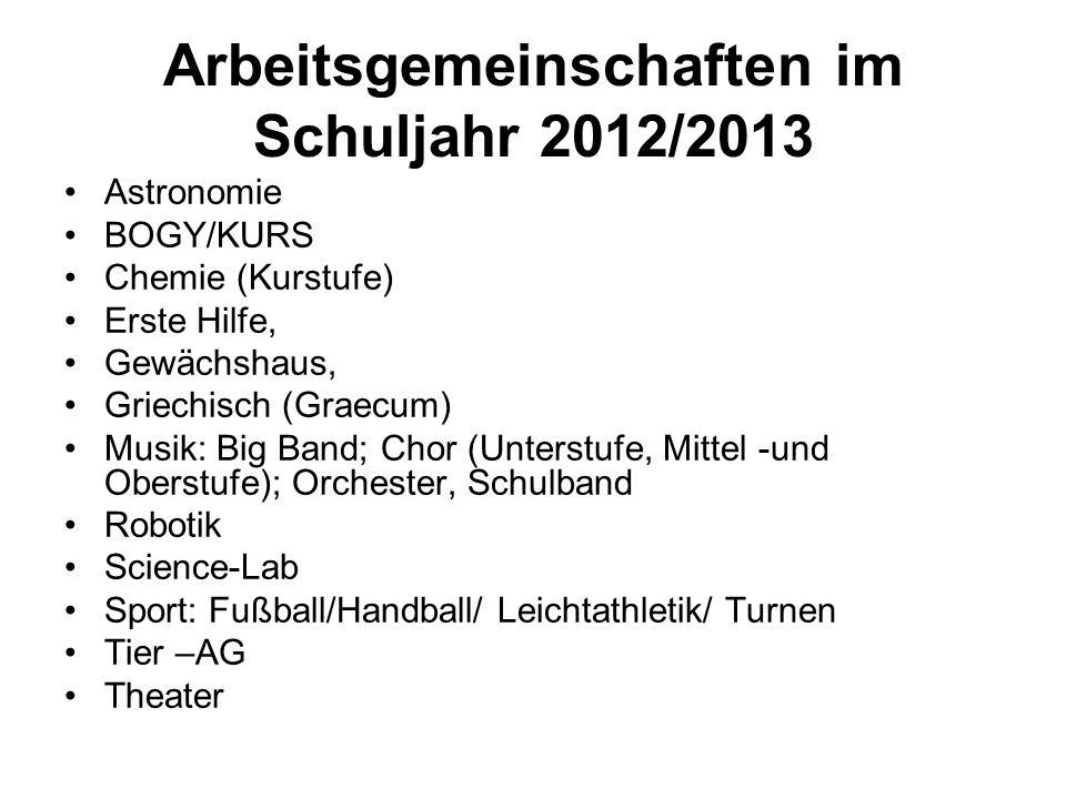 Arbeitsgemeinschaften im Schuljahr 2012/2013