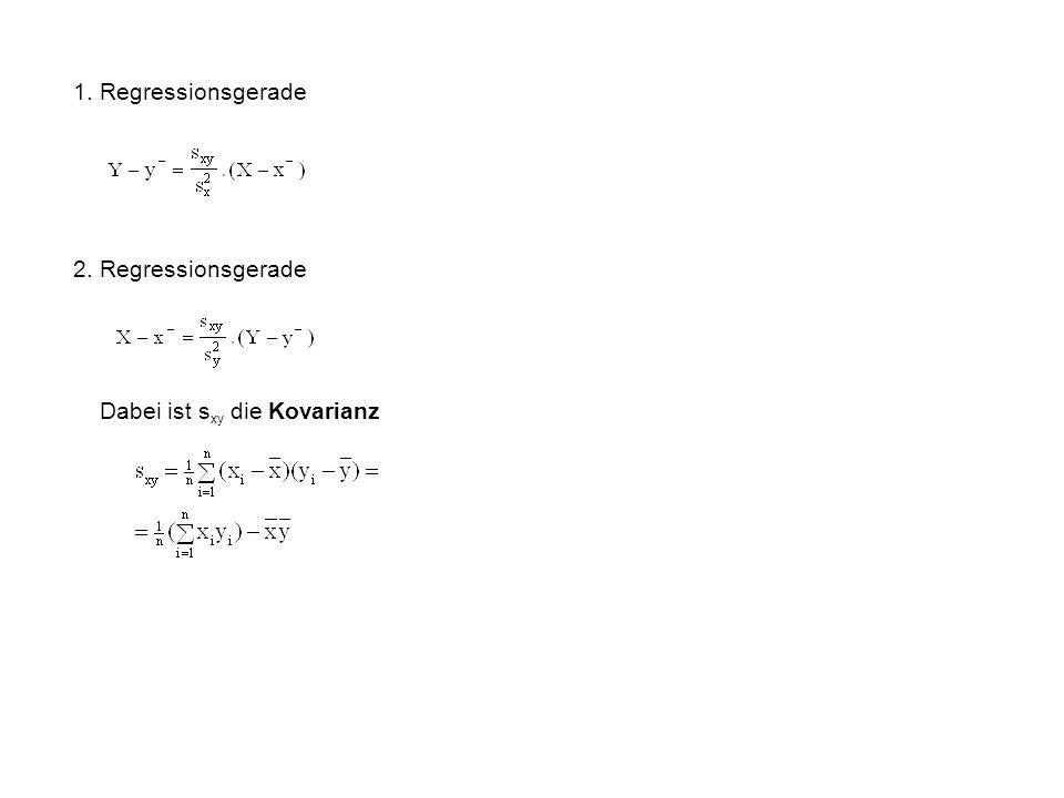 1. Regressionsgerade 2. Regressionsgerade Dabei ist sxy die Kovarianz
