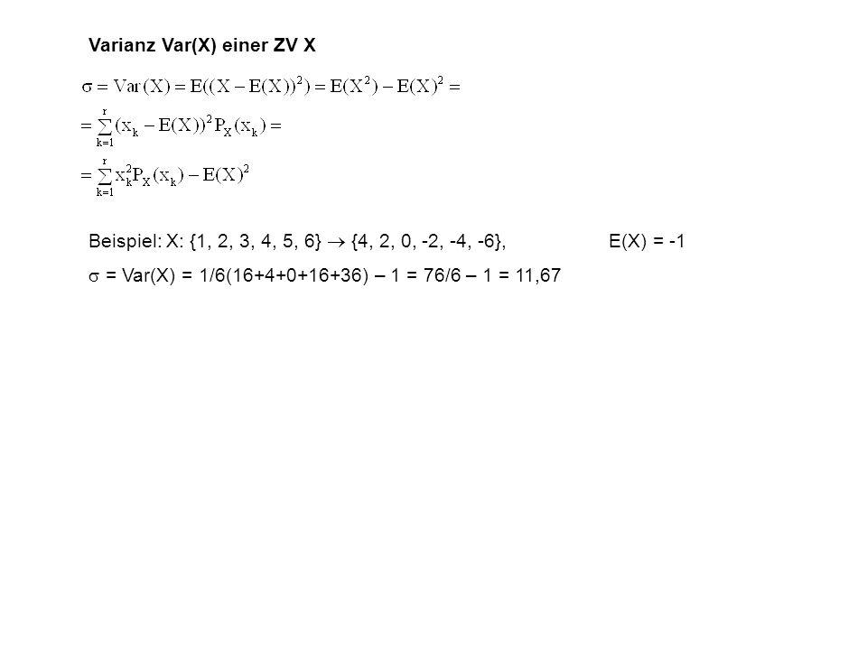 Varianz Var(X) einer ZV X